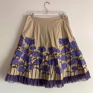 Anthropologie Basil & Maude Embroidered Skirt